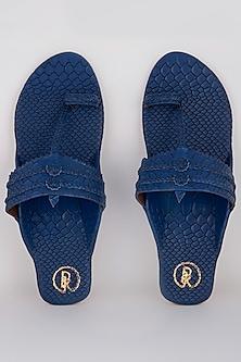Blue Textured Kolhapuris With Hand Braided Straps by Preet Kaur