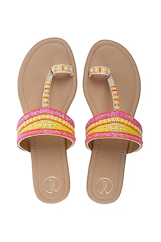 Pink & Yellow Embroidered Kolhapuris by Preet Kaur