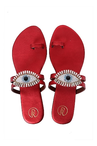 Red Eye Embroidered Flats by Preet Kaur
