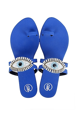 Cobalt Blue Eye Embroidered Flats by Preet Kaur