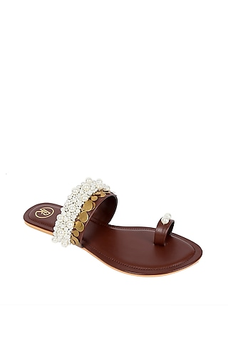 Brown Pearl Embroidered Flats by Preet Kaur