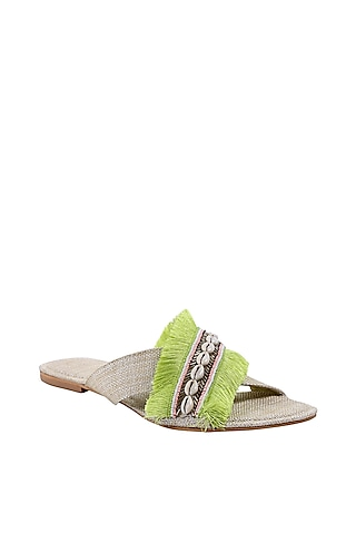 Green & White Embroidered Flats by Preet Kaur