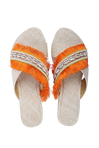 Orange & White Embroidered Flats by Preet Kaur