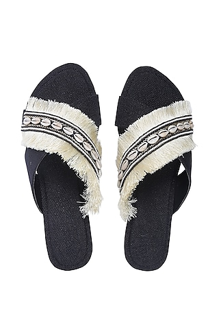 Black & White Embroidered Flats by Preet Kaur