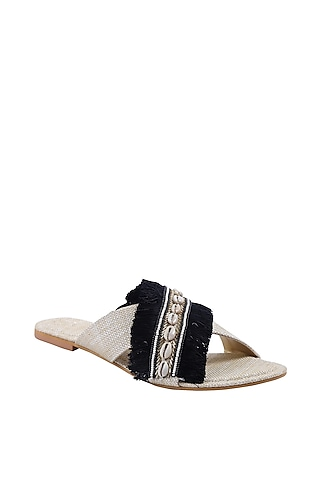 White & Black Embroidered Flats by Preet Kaur