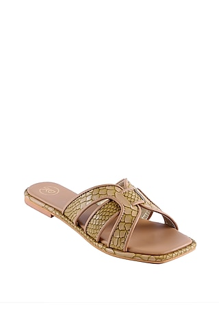 Beige Textured Faux Leather Flats by Preet Kaur