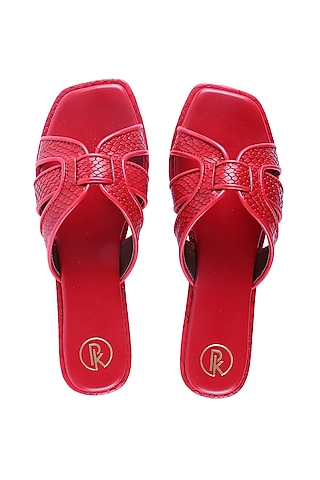 Red Textured Faux Leather Flats by Preet Kaur
