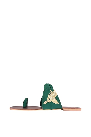 Emerald Green Embroidered Knotted Flats by Preet Kaur