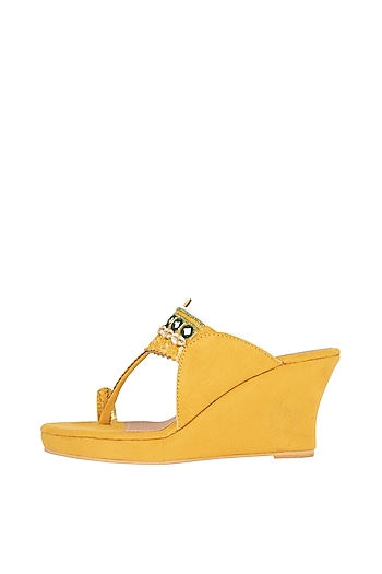 Yellow Mirror Embroidered Kolhapuri Wedges by Preet Kaur