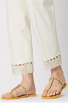 Yellow Stone Embellished Thumb Flats by Preet Kaur