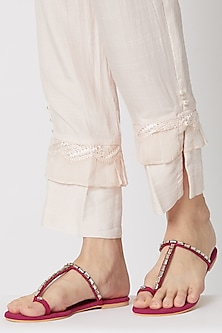 Pink Stone Embellished Thumb Flats by Preet Kaur
