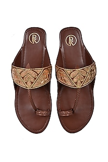 Brown Hand Embroidered Flats by Preet Kaur
