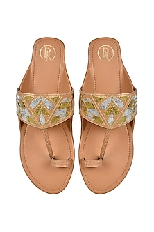 Beige Hand Embroidered Flats by Preet Kaur