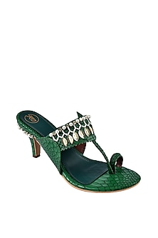 Green Hand Embroidered Kolhapuri Heels by Preet Kaur