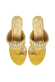 Yellow Hand Embroidered Kolhapuri Heels by Preet Kaur