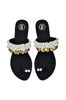 Black Hand Embroidered Flats by Preet Kaur