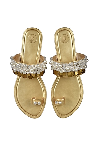 Dull Gold Hand Embroidered Flats by Preet Kaur