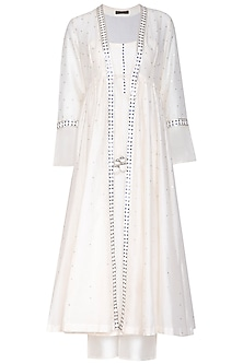 White Embroidered Jacket Kurta Set by Priyal Prakash