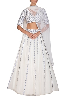 White Embroidered Lehenga Set by Priyal Prakash