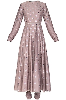 Purple Embroidered Anarkali Set by Priyal Prakash