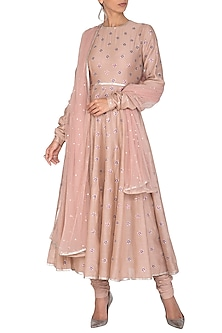 Light Taupe Aari Embroidered Anarkali Set by Priyal Prakash