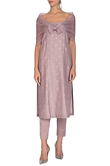 Purple Embroidered Kurta Set by Priyal Prakash