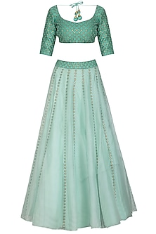 Mint Green Embroidered Lehenga Set by Priyal Prakash