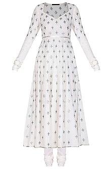 White Embroidered Anarkali Set by Priyal Prakash