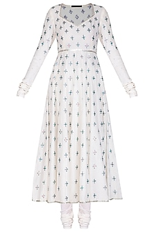 White Embroidered Anarkali Set by Priyal Prakash