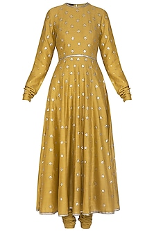 Mustard Embroidered Anarkali Set by Priyal Prakash