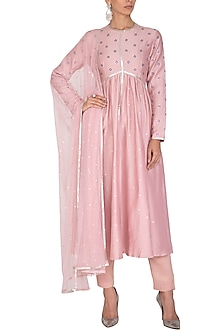 Blush Pink Embroidered Kurta Set by Priyal Prakash