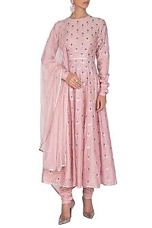Blush Pink Aari Embroidered Kurta Set by Priyal Prakash