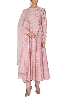 Blush Pink Aari Embroidered Kurta Set by Priyal Prakash