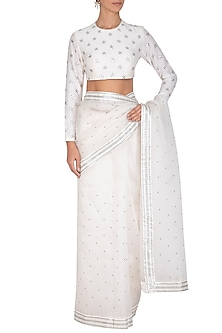 White Embroidered Saree Set by Priyal Prakash