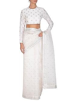 White Embroidered Saree Set by Priyal Prakash