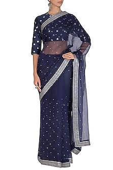 Navy Blue Embroidered Saree Set by Priyal Prakash