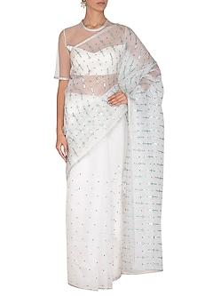 White Aari Embroidered Saree Set by Priyal Prakash