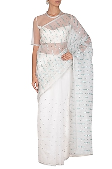 White Aari Embroidered Saree Set by Priyal Prakash