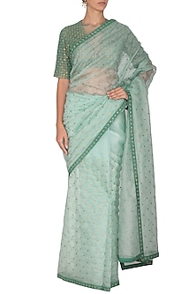 Mint Green Embroidered Saree Set by Priyal Prakash