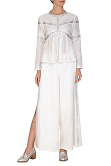 White Embroidered Top With Palazzo Pants by Priyal Prakash