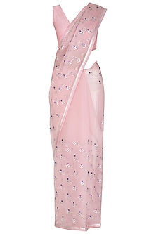 Blush Pink Embroidered Saree Set by Priyal Prakash