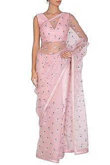 Blush Pink Embroidered Saree Set by Priyal Prakash