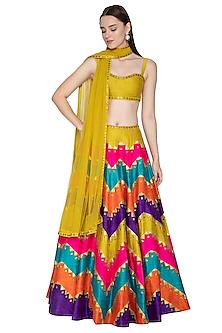 Multi Colored Embroidered Lehenga Set by Priyal Prakash