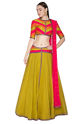 Mustard Yellow Embroidered Lehenga Set by Priyal Prakash