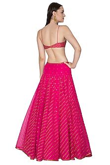 Fuchsia Pink Embroidered Lehenga Set by Priyal Prakash