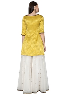 Yellow & Ivory Embroidered Sharara Set by Priyal Prakash