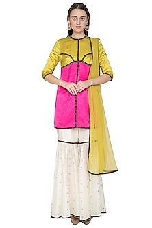 Yellow & White Embroidered Sharara Set by Priyal Prakash