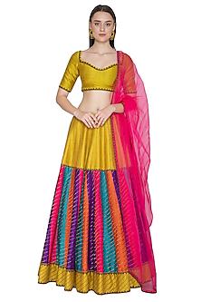 Multi Colored Embroidered Raw Silk Lehenga Set by Priyal Prakash