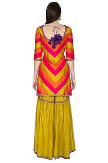 Multi Colored Aari Embroidered Sharara Set by Priyal Prakash