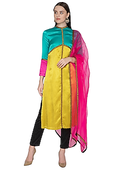 Multi Colored Embroidered Kurta Set by Priyal Prakash